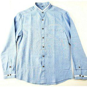 Men's Shirt Long Sleeve Navy Blue Soft Authentic